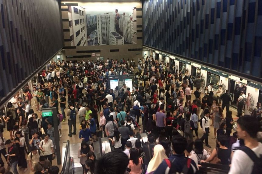 A photo sent in by a commuter shows a crowded platform at the Bukit Panjang station along DTL2 in the west.
