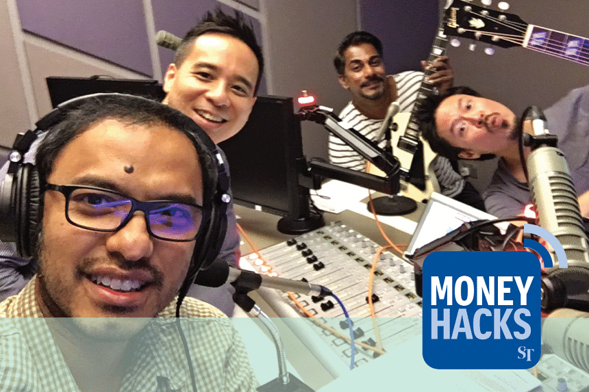From left: Money Hacks podcast hosts Ernest Luis and Chris Lim are joined by Jack (extreme right) and Rai, one of the most popular duos in the live gig circuit in Singapore.