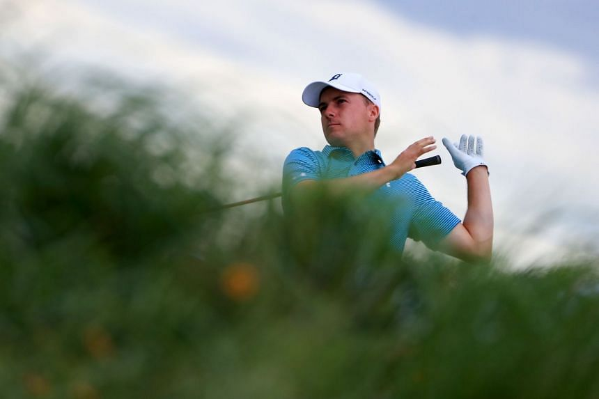 Spieth playing his shot from the third tee during the final round of the AT&T Byron Nelson.