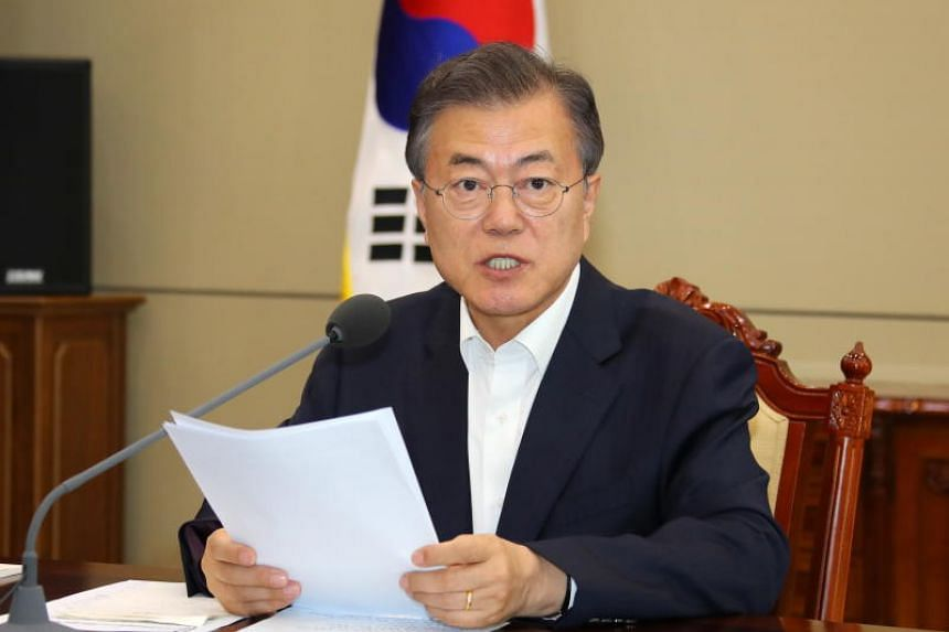 South Korean President Moon Jae In was meeting with his foreign minister, defence minister and his chief of staff, among others after US President Donald Trump cancelled his June 12, 2018, meeting with North Korean leader Kim Jong Un.