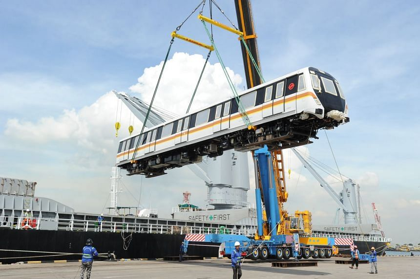 The train-cars are the first in Singapore's MRT network to have five doors on each side to facilitate commuter boarding and alighting.
