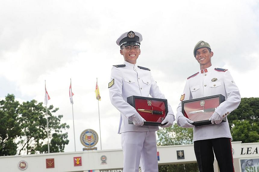 3SG Edwin Sim, 21, and 3SG Mohamed Iqbal Abdul Hamid, 21, received the Gold and Silver Bayonets, respectively. The achievements are bestowed on selected graduands across different vocations.