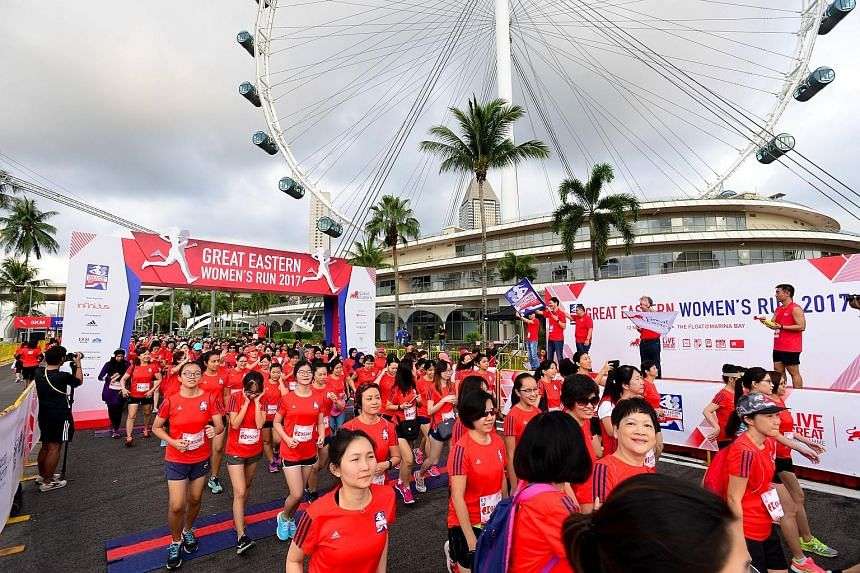 Runners at last year's Great Eastern Women's Run. This year's event, the 13th, will end at the Singapore Sports Hub for the first time. A new category, the 110m sprint, has been introduced this year to celebrate Great Eastern's 110th anniversary.