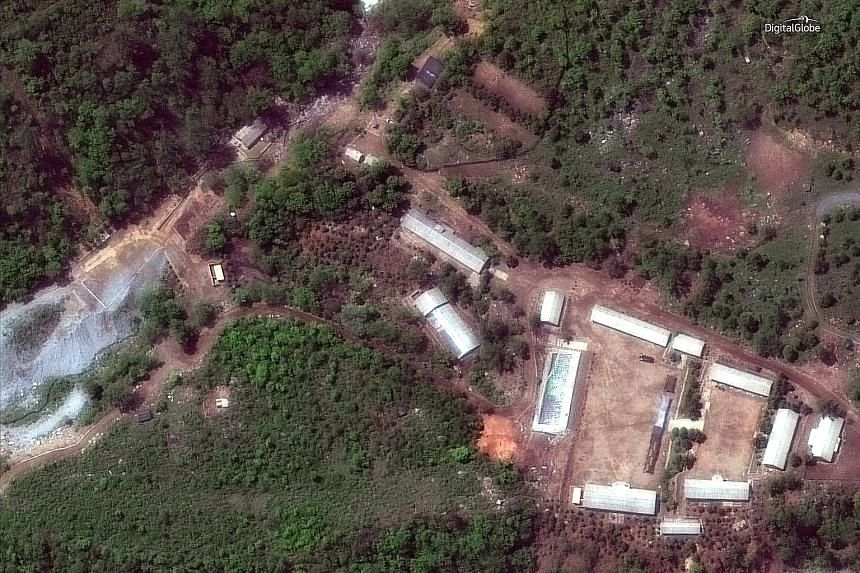 North Korea's Punggye-ri nuclear test facility, as seen in a satellite image, in North Hamgyong province on Wednesday before the demolition. Dozens of journalists from Russia, China, South Korea, Britain and the United States reported watching the de