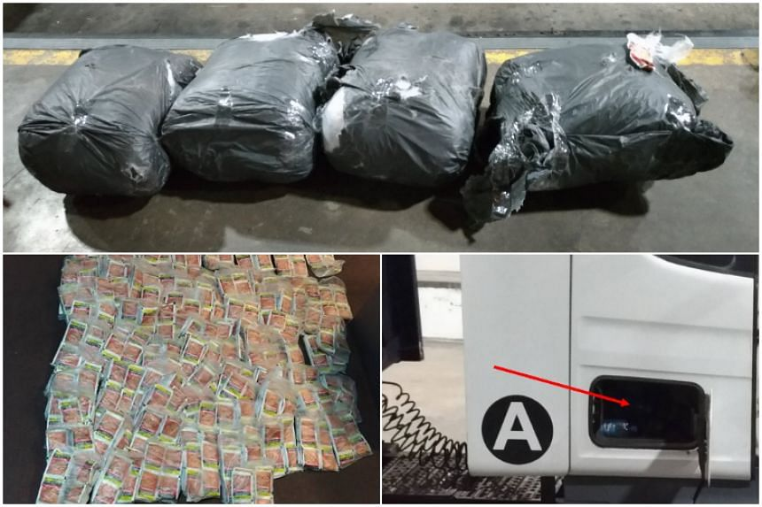 During the checks, four bundles of chewing tobacco were seized, including one of them found inside the driver's toolbox compartment. The other bundles were hidden under the bed compartment behind the seats.