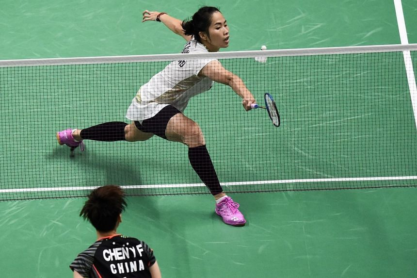 Ratchanok Intanon of Thailand hittng a return against Chen Yufei of China during their match in the semi-finals of the Uber Cup badminton tournament in Bangkok on May 25, 2018.