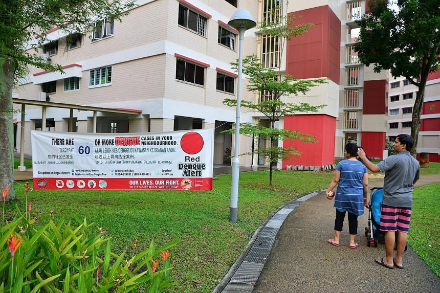 A poster put up by NEA warning about dengue, at Block 946 Jurong West Street 91, where all three victims lived.
