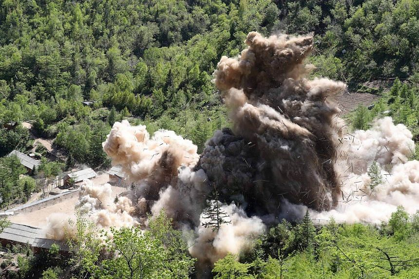 A command post of Punggye-ri nuclear test ground is blown up during the dismantlement process, on May 24, 2018.