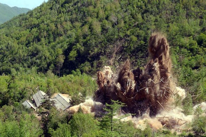 Demolition taking place of an entrance tunnel at North Korea's Punggye-ri nuclear test site on May 24, 2018.