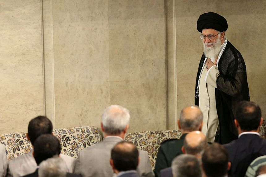 Iranian supreme leader Ali Khamenei arriving for a meeting with members of the Iranian government in Tehran, May 23 2018.