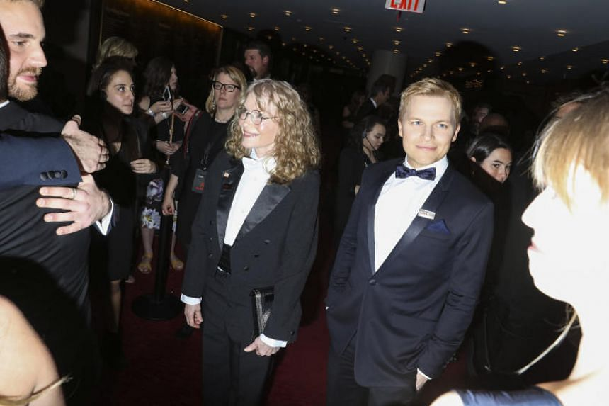 Mia Farrow and Ronan Farrow attend the Time 100 Gala at Lincoln Center in New York, April 24, 2018.