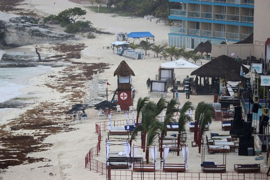 A general view shows an empty beach as subtropical storm Alberto approaches Cancun, Mexico.