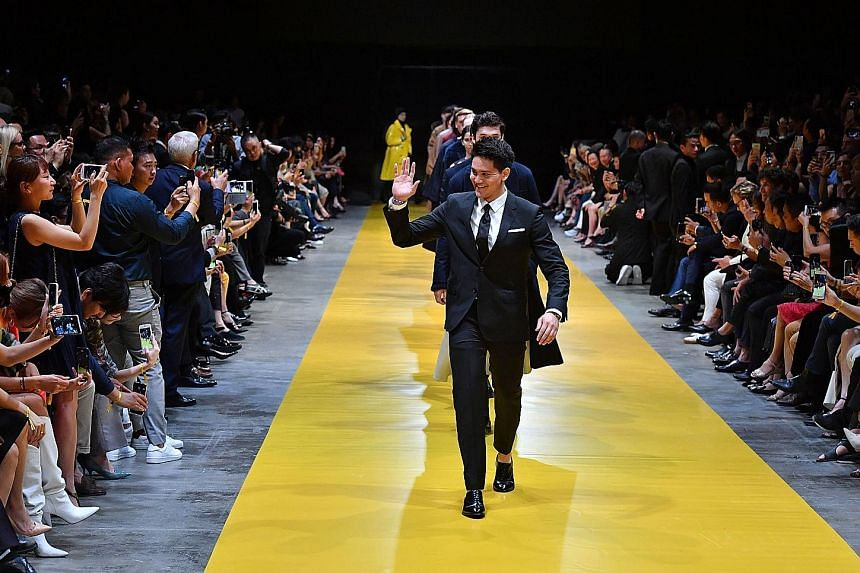 Olympic star Joseph Schooling leading 40 models down the runway during the finale of the Hugo Boss fashion show as they presented the label's men's and women's fall/winter 2018 collections. Schooling was named a Hugo Boss ambassador in March.