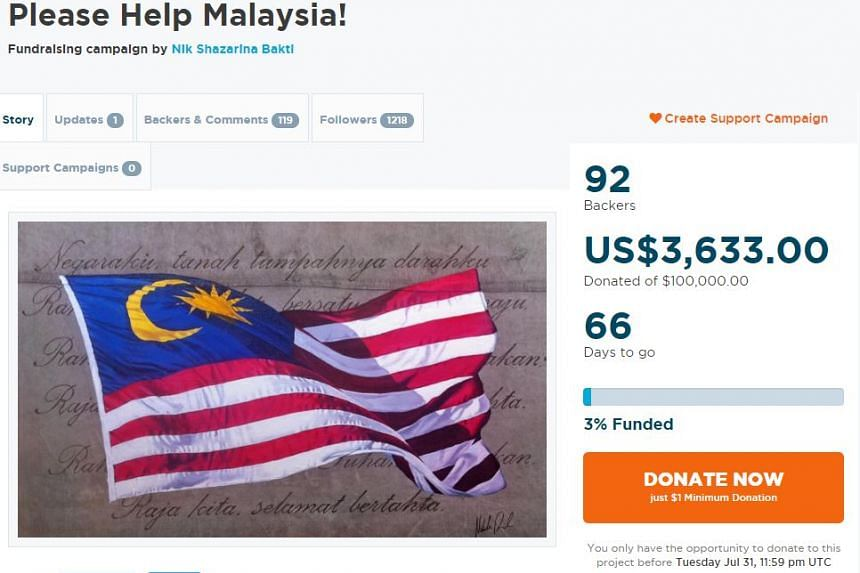 "At press time, the ""Please Help Malaysia"" campaign on GoGetFunding has raised about US$3,600 (S$4,800) of its US$100,000, with 92 backers."
