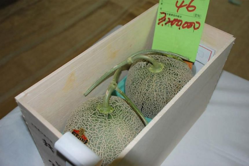 The pair of Yubari melons were the first to go under the hammer in 2018 at the Sapporo Central Wholesale Market in Hokkaido.