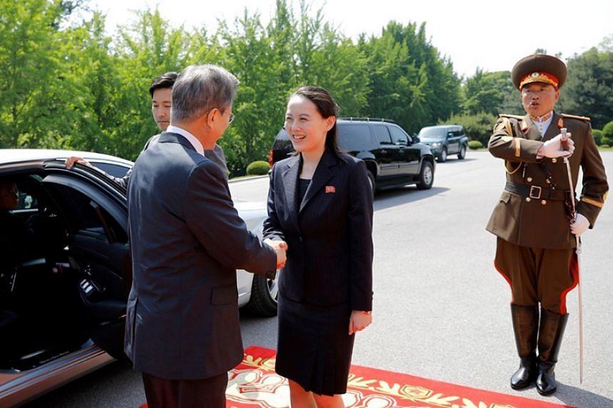 South Korean President Moon Jae In meets North Korean leader Kim Jong Un's sister Kim Yo Jong at Tongilgak, on North Korea's side of the truce village of Panmunjom, on May 26, 2018.