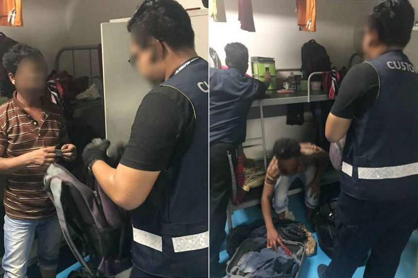 Officers from the Singapore Police Force and Singapore Customs conducted the operation at a foreign workers dormitory in Punggol and checked some 400 foreign workers.