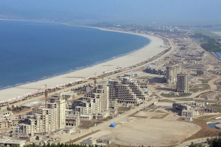 A general view of the construction site of the Wonsan-Kalma coastal tourist area, in Wonsan, North Korea, on May 26, 2018.