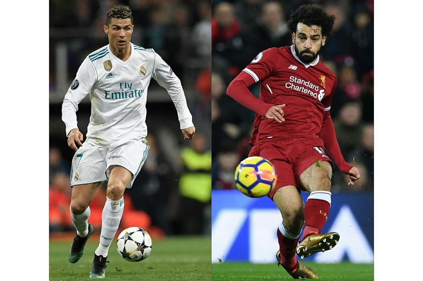 Real Madrid's Portuguese forward Cristiano Ronaldo (left) during an Uefa Champions League football match, on May 1, 2018, and Liverpool's Egyptian midfielder Mohamed Salah during an English Premier League match in Liverpool, on Dec 26, 2017.