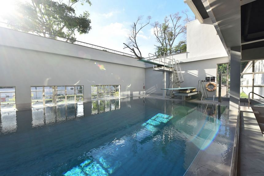 A 3.8m-deep diving pool in The NCO Club pays homage to its former Olympic-sized pool.