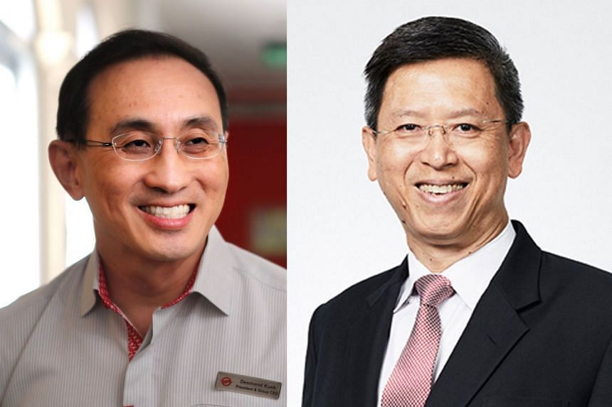 Mr Neo Kian Hong (right) will take over from current SMRT chief executive Desmond Kuek (left) on Aug 1.