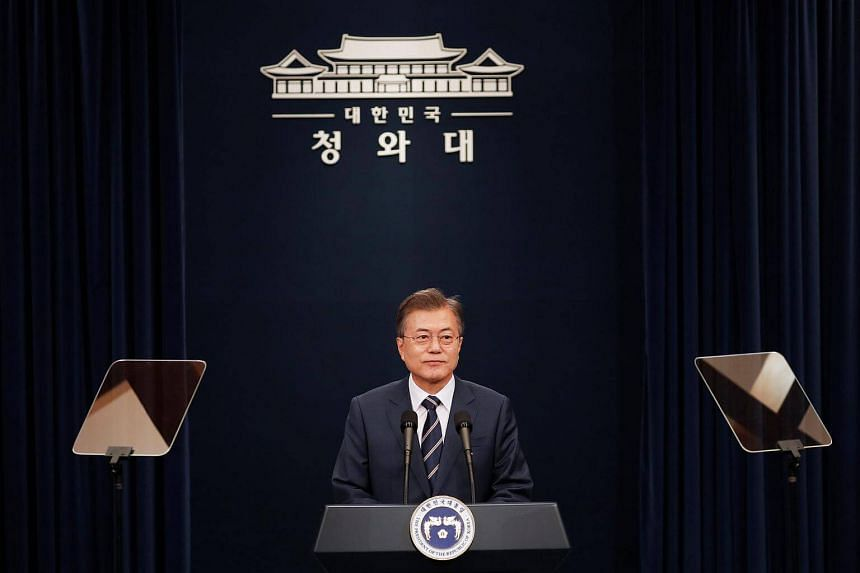 South Korean President Moon Jae In speaks during a news conference at the Presidential Blue House in Seoul, on May 27, 2018.