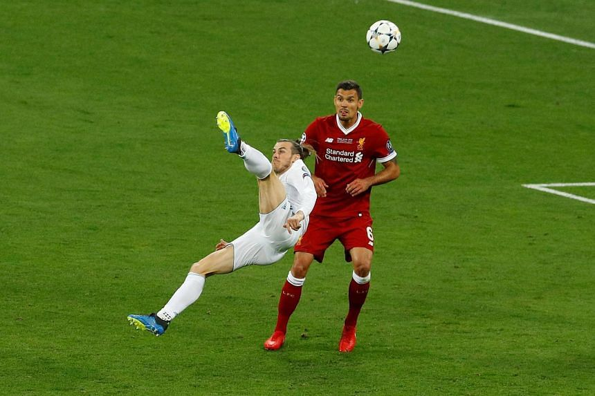 Real Madrid's Gareth Bale scores their second goal during the Uefa Champions League final football match on May 26, 2018.