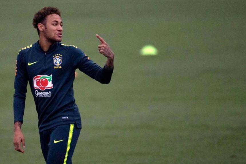 Brazil's player Neymar attends a training session of the national football team ahead of FIFA's 2018 World Cup, at Granja Comary training centre in Teresopolis, Rio de Janeiro, Brazil, on May 23, 2018.
