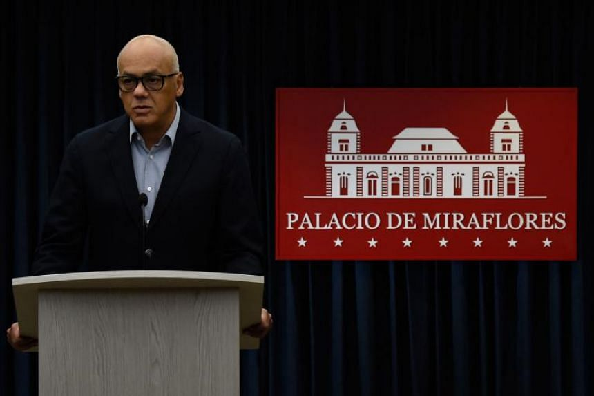 Venezuela's Communications Minister Jorge Rodriguez offers a press conference at the Miraflores presidential palace in Caracas, on May 26, 2018 in which he announced released US citizen Joshua Holt is already heading to the United States.