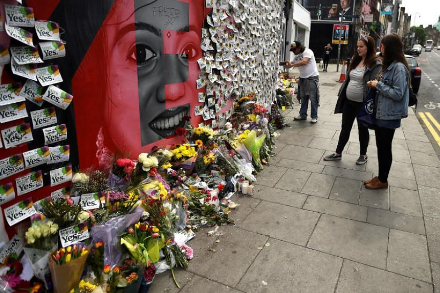 Messages are left at a memorial to Savita Halappanava in Dublin, Ireland, on May 27, 2018.