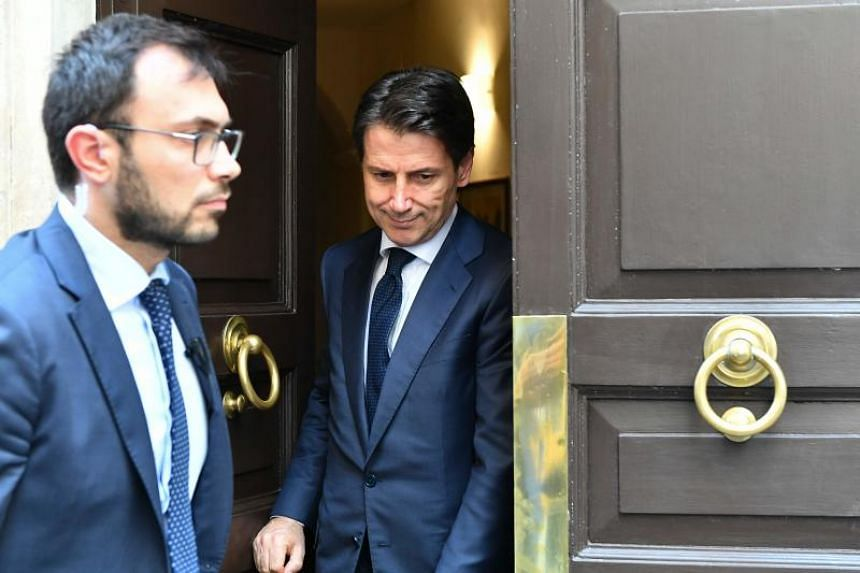 Italy's newly appointed prime minister Giuseppe Conte, leaves his house on May 27, 2018 in Rome.