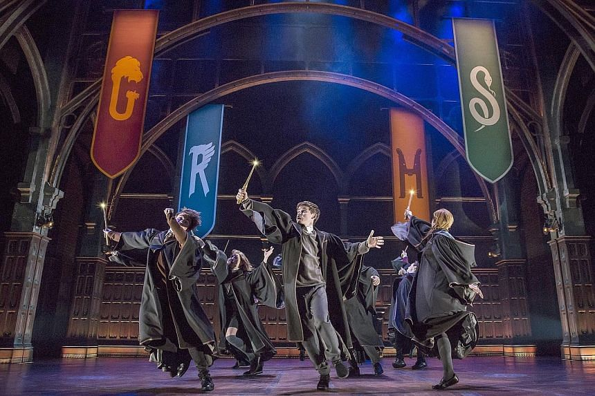 The company of Harry Potter And The Cursed Child performing at New York's Lyric Theatre.