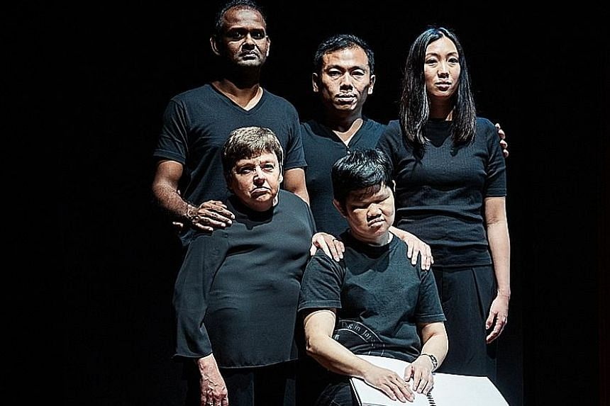 (Back row, from far left) Ramesh Meyyappan, Peter Sau and Grace Khoo as well as (front row, from far left) Sara Beer and Lim Lee Lee formed the cast of And Suddenly I Disappear: The Singapore 'd' Monologues.