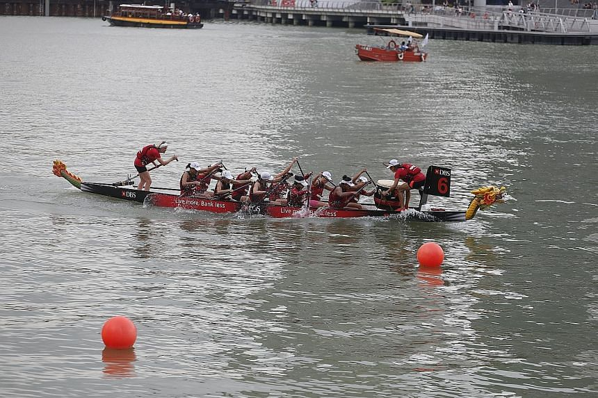 The Singapore Paddle Club boat coming in at 2:38.645 for a massive gap of over six seconds to retain their Premier Women title on the first day of the DBS Marina Regatta.