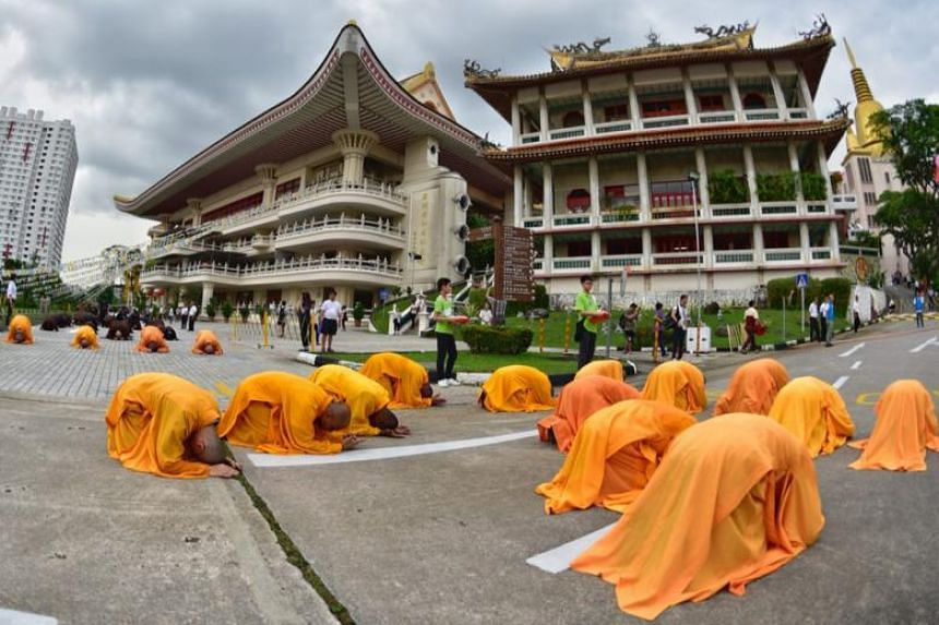Last year, 15,000 devotees took part in the Three-Step, One-Bow Ceremony. The meditative circumambulation is an act of repentance for misdeeds and a commemoration of the Buddha's life, enlightenment and death on Vesak Day.