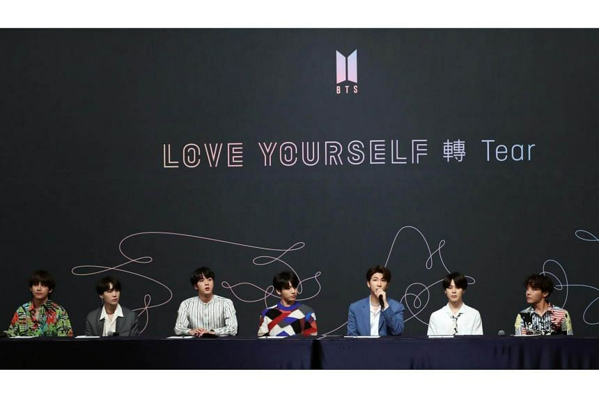 Members of K-pop boy group BTS hold a press conference in Seoul, South Korea on May 24, 2018.