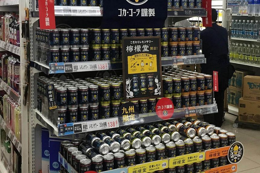 A display of the new Lemon-Do alcoholic drink at a shop in Fukuoka, Japan, on May 28, 2018.