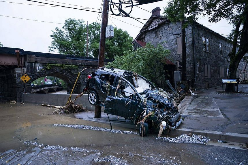Damage on Main Street after a flash flood rushed through the historic town of Ellicott City, Maryland on May 27, 2018.