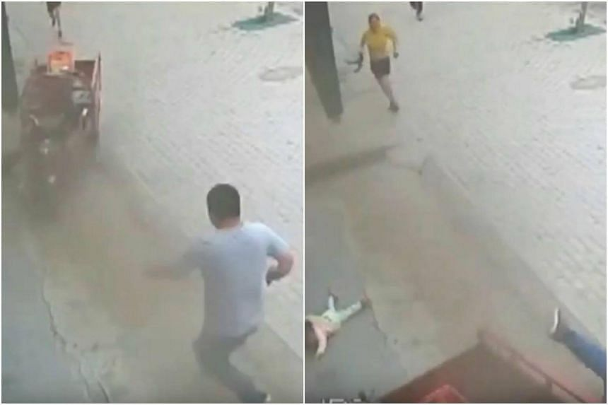 In the video, the unidentified man is seen dashing towards the rapidly moving three-wheeler to rescue the young girl before being knocked down.