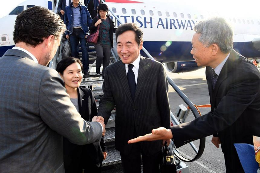 South Korean Prime Minister Lee Nak Yon (centre) arrives in Dublin, Ireland, on May 27, 2018. Mr Lee believes the US-North Korea summit will take place as planned on June 12 in Singapore.