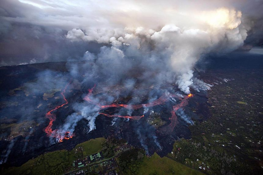A noticeable increase in volume of lava being produced by this eruption on Kilauea's lower east rift zone, has huge rivers of lava snaking its way toward the sea, in Pahoa, Hawaii, on May 27, 2018.