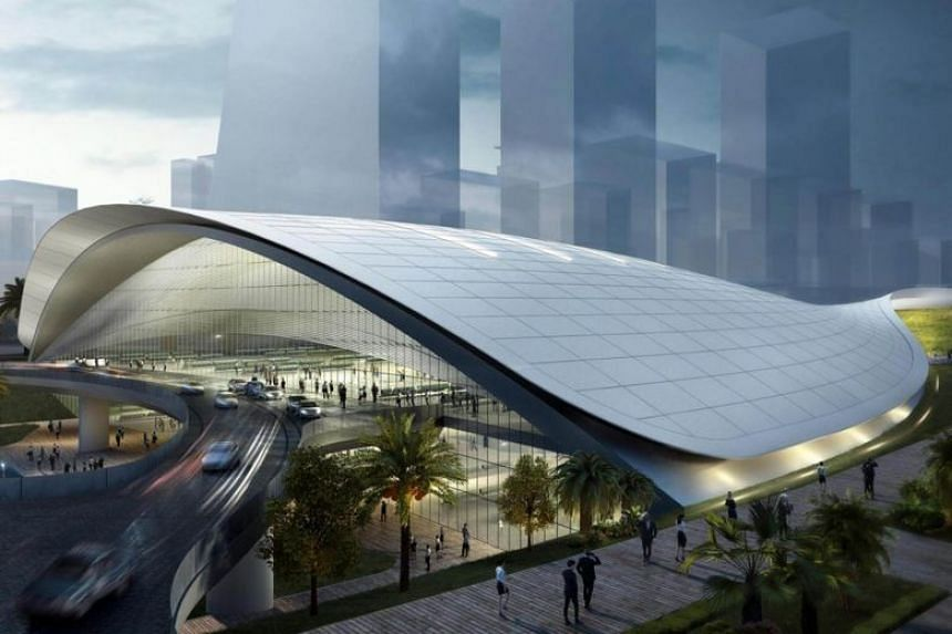 An artist's impression of the high-speed rail terminal in Jurong East.