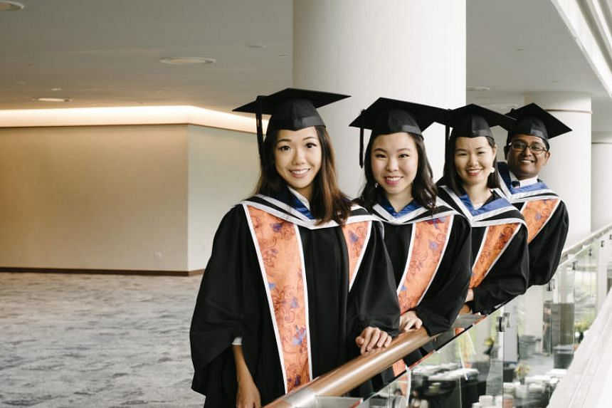 (From left) Ms Gin Ong, Ms Lim Chu Hsien, Ms Amelia Chew and Mr Tinesh Indrarajah from Yale-NUS' second graduating class.