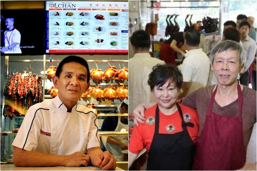 Mr Chan Hon Meng (left), owner of Hawker Chan restaurants, and Madam Betty Kong and her husband Ha Wai Kay, the husband-and-wife team behind Kay Lee Roast Meat Joint.