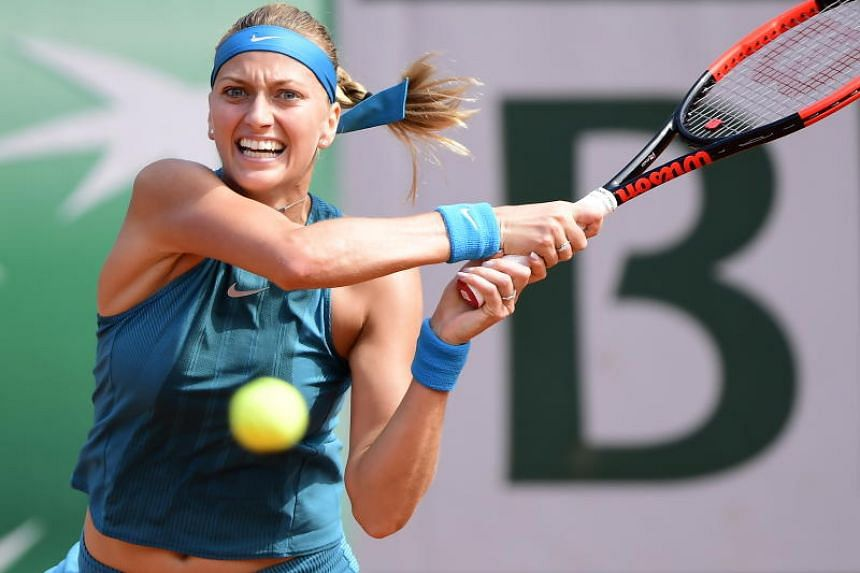 Petra Kvitova of Czech Republic in action during the women's first round match during the French Open tennis tournament at Roland Garros in Paris, France, on May 28, 2018.