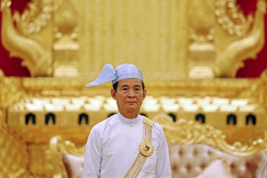 Myanmar's president Win Myint attends an event at the presidential house in Naypyidaw on May 3, 2018.