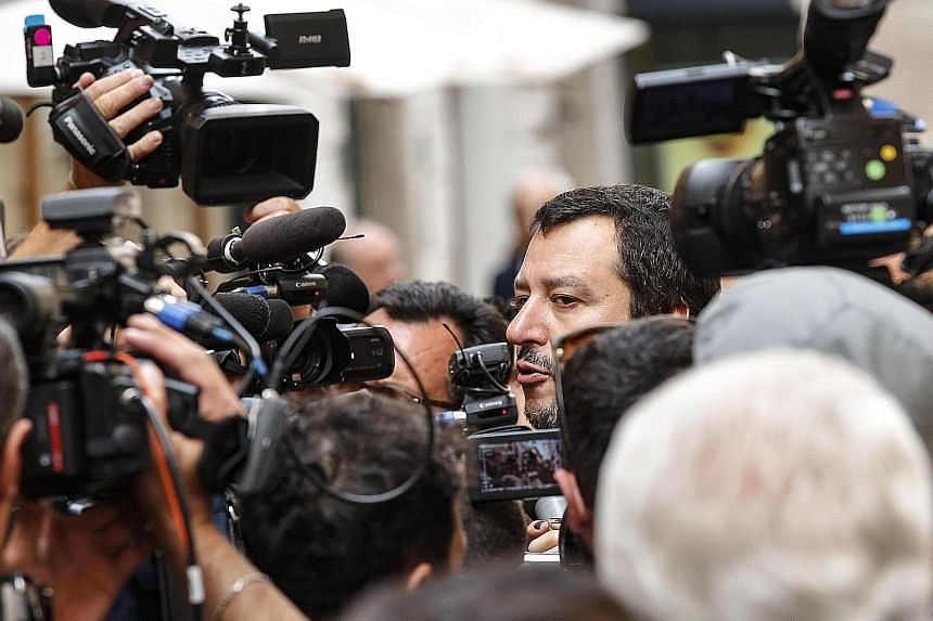 League leader Matteo Salvini arriving at the Lower House of Parliament in Rome yesterday, after Italy's President refused to approve the nomination of eurosceptic economist Paolo Savona as finance minister.