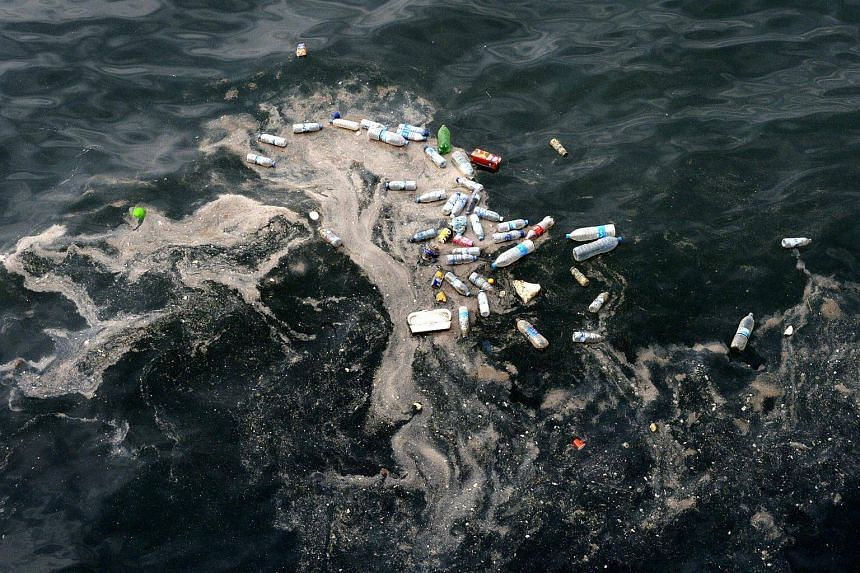 Empty plastic bottles and floating trash seen in the Mediterranean Sea, on May 28, 2018.