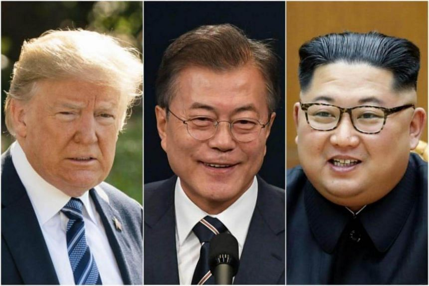 South Korean President Moon Jae In (centre) would likely be around when US President Donald Trump and North Korean leader Kim Jong Un meet on June 12, 2018.