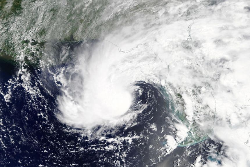 Subtropical Storm Alberto is pictured nearing the Florida Panhandle in this May 27, 2018, NASA handout photo.